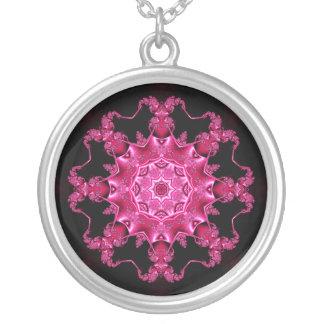 Pink enamel fibula pendant