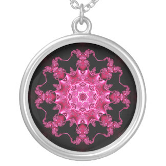 Pink enamel fibula round pendant necklace