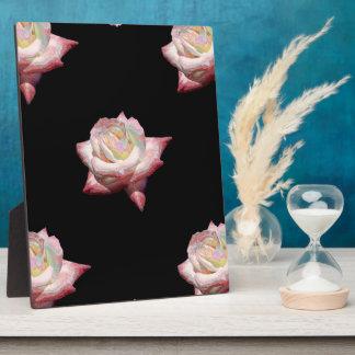 Pink Enameled Roses on Black Plaque