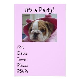 Pink English Bulldog Party Invitations! Card