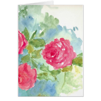 Pink English Cabbage Roses Note Card Watercolor