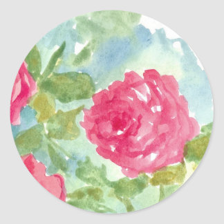 Pink English Cabbage Roses Watercolor Flowers Classic Round Sticker