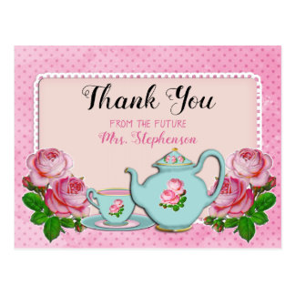 Pink English Cottage Style Bridal Shower Thank You Postcard