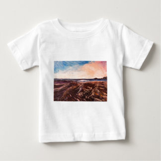 Pink English Seaside Northumbrian Sunset Oil Paint Baby T-Shirt