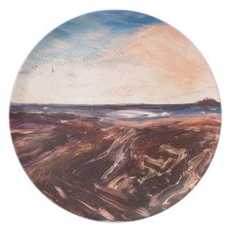 Pink English Seaside Northumbrian Sunset Oil Paint Plate