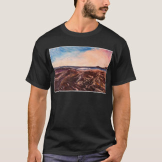 Pink English Seaside Northumbrian Sunset Oil Paint T-Shirt