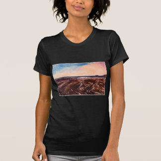 Pink English Seaside Northumbrian Sunset Oil Paint T-Shirt