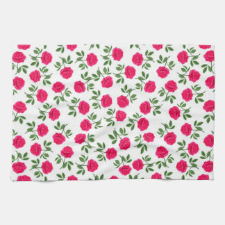 Pink English Tea Roses Kitchen Towel
