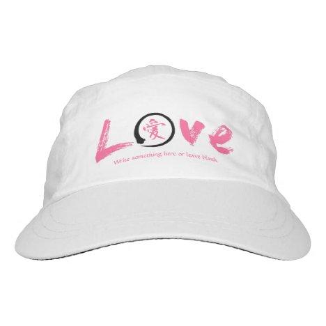 Pink enso circle   Japanese kanji symbol for love Headsweats Hat