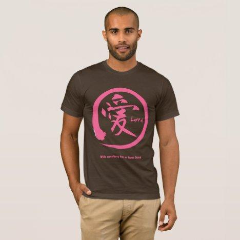 Pink enso circle | Japanese kanji symbol for love T-Shirt