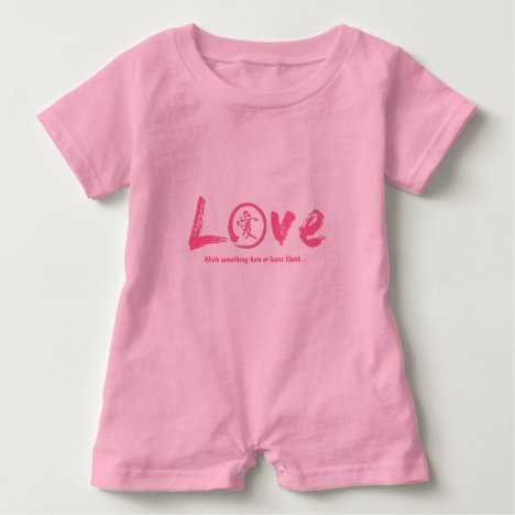 Pink Enso Zen Circle Japanese Symbol For Love Baby Romper