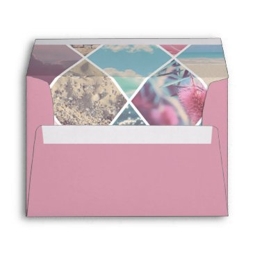 Beach Themed Pink Envelope Summer Diamond Pattern Lining