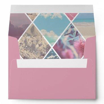 Beach Themed Pink Envelope Summer Diamond Pattern Lining