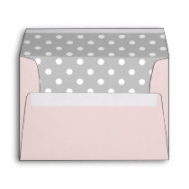 Pink Envelope With Gray Polka Dot Print
