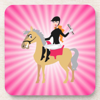 Pink Equestrian Girl Drink Coaster