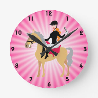 Pink Equestrian Girl Round Clock