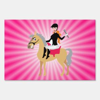 Pink Equestrian Girl Yard Signs