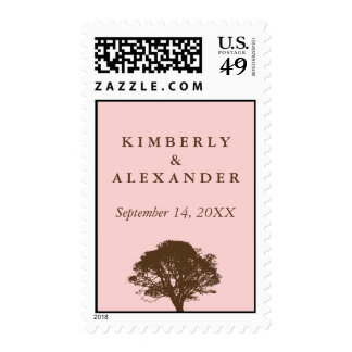 Pink eternal oak tree custom name wedding postage