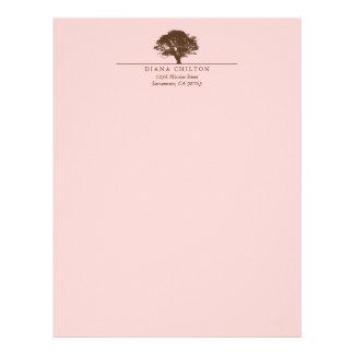 Pink eternal oak tree elegant custom autumn letterhead
