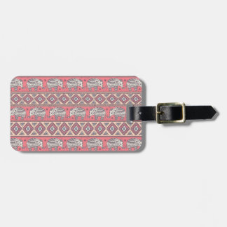 Pink Ethnic Elephant Pattern Bag Tag