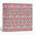 Pink Ethnic Elephant Pattern Binder