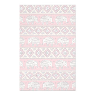 Pink Ethnic Elephant Pattern Stationery Paper