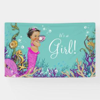 Pink Ethnic Mermaid Baby Shower Banner