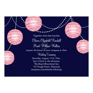 Pink Evening Party Lanterns Wedding Invitation