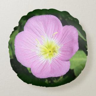 Pink evening primrose round pillow