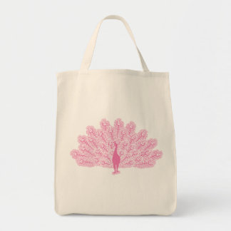 Pink Evil Peacock Tote Bag