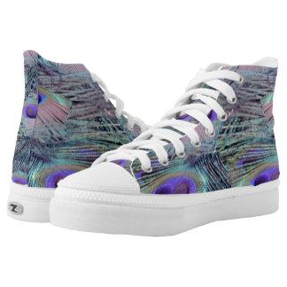 pink eye peacock feathers High-Top sneakers