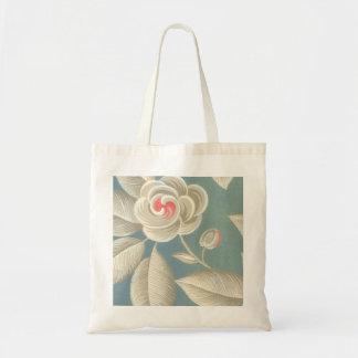 Pink Eye Rose Vintage Wallpaper Tote Bags