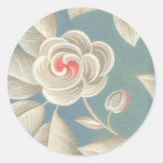Pink Eye Rose Vintage Wallpaper Classic Round Sticker