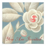 "Pink Eye Rose Vintage Wallpaper Invitation 5.25"" Square Invitation Card"