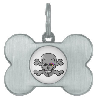 Pink eyed Jolly Roger Pet ID Tag