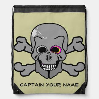 Pink eyed Skull and cross bones Drawstring Backpack