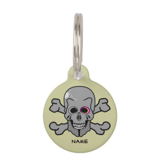 Pink eyed Skull and cross bones Pet Name Tag
