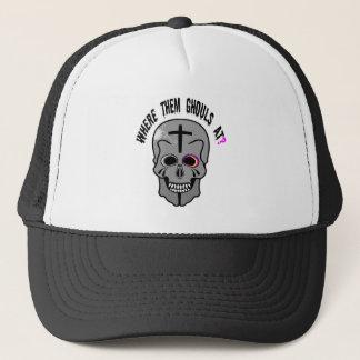 Pink eyed Skull Trucker Hat
