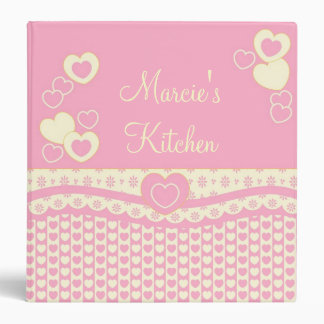 Pink Eyelet and Heart Binder