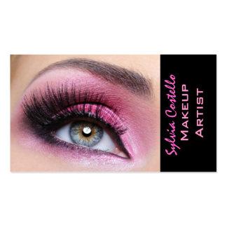 Pink eyeshadow long lashes eyemakeup artist card business card