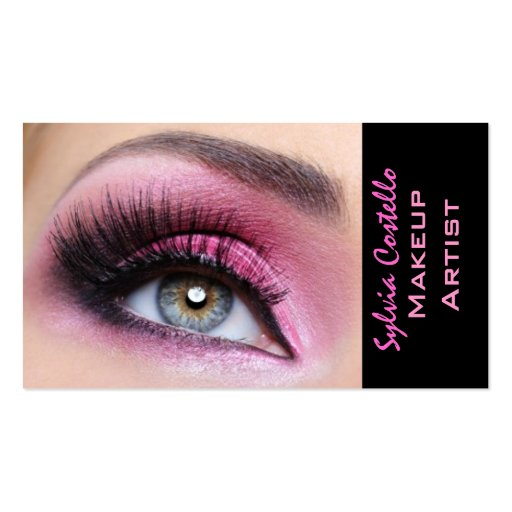 Pink eyeshadow long lashes eyemakeup artist card Double-Sided standard business cards (Pack of 100)