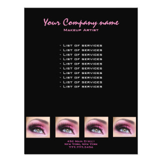Pink Eyeshadow long lashes eyemakeup artist flyer