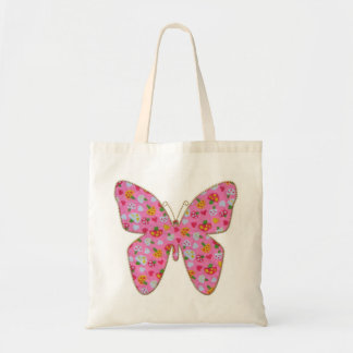Pink fabric butterfly budget tote bag