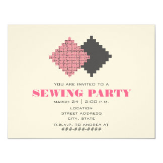 Pink Fabric Swatches Sewing Party Invitation