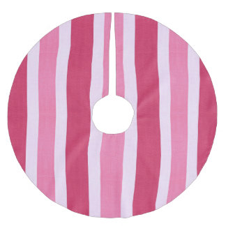 Pink Fabric Texture Stripes Pattern Brushed Polyester Tree Skirt