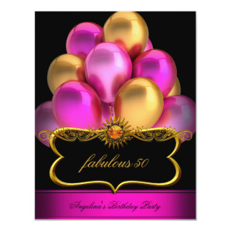 Pink Fabulous Black Gold Balloons Birthday Party Card