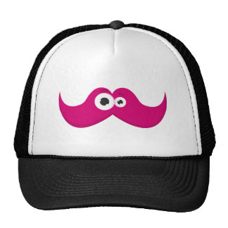 Pink facetache - The moustache with a face Mesh Hats