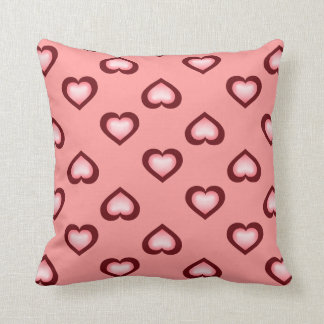 Pink fade and crimson hearts pattern throw pillow