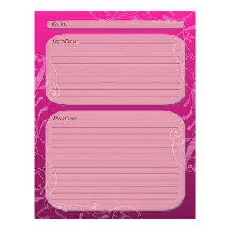 "Pink fade classy swirl recipe page 8.5"" x 11"" flyer"
