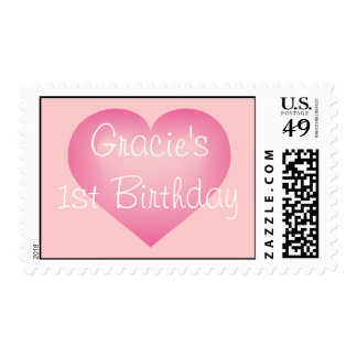 Pink fade heart 1st birthday girl postage stamp